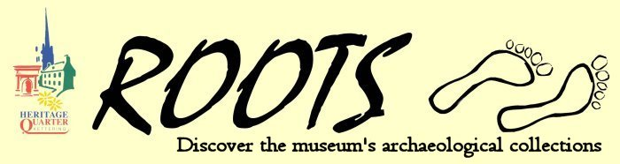 Kettering Heritage Quarter logo, ROOTS Discover the museum's archaeological collections